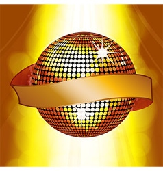 Disco ball with banner on glowing background vector