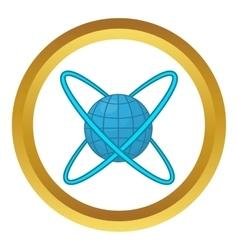 Earth around orbits icon vector image vector image