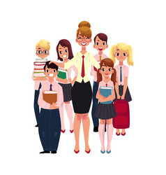 female teacher surrounded by students pupils vector image vector image