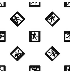 Fire exit sign pattern seamless black vector