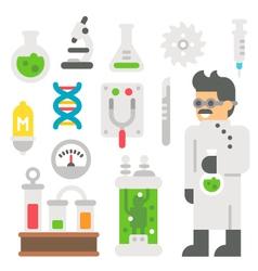 Flat design mad scientist item set vector