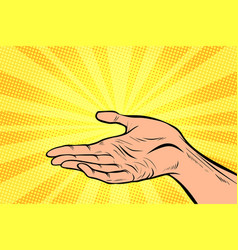 holding in hand presentation gesture vector image vector image