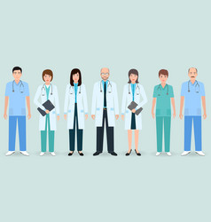 hospital staff set of seven man and woman doctors vector image vector image