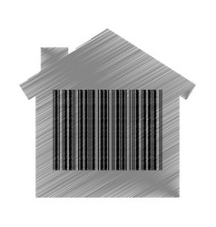 House with bar code isolated icon vector