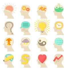 Human head logos icons set cartoon style vector