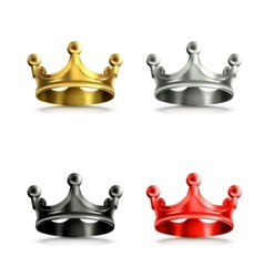 Multicolored crowns set vector image
