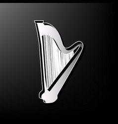 Musical instrument harp sign gray 3d vector