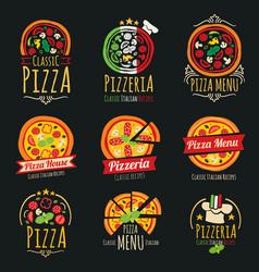 pizza logos pizzeria italian cuisine vector image vector image