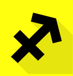 Sagittarius sign black icon with vector