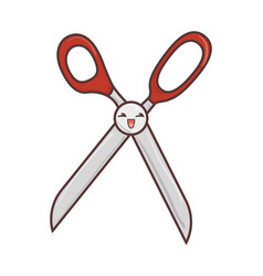 Scissors sewing comic character isolated icon vector