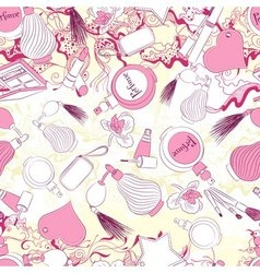 Seamless pattern with perfumes and fashion vector image