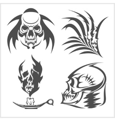 Set of skulls vector image vector image