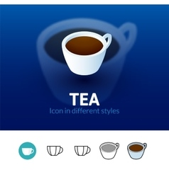 Tea icon in different style vector