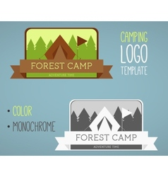 Vintage camping and outdoor activity logos vector image vector image
