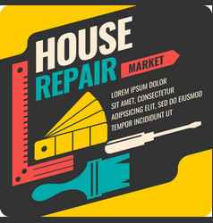 Vintage house repair poster vector