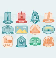 world landmarks flat icon set travel and tourism vector image vector image
