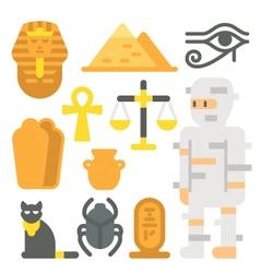 Flat design mummy item set vector image