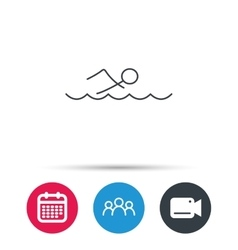 Swimming icon swimmer in waves sign vector