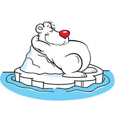 cartoon polar bear laying on an iceberg vector image