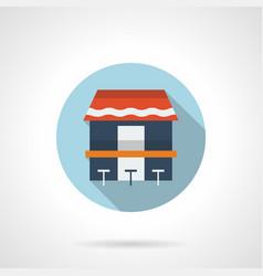 Coast cafe flat round icon vector