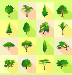 Tree type forms icons set flat style vector