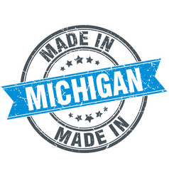 Made in michigan blue round vintage stamp vector