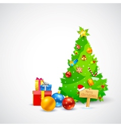 Christmas Gift and Pine Tree vector image