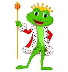 Cute king frog cartoon with royal stick vector