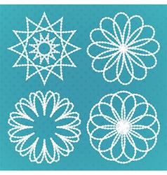 Four vintage round ornaments set vector image