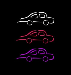 Car with abstract lines logo design concept vector