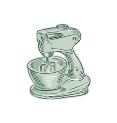 Kitchen mixer vintage etching vector