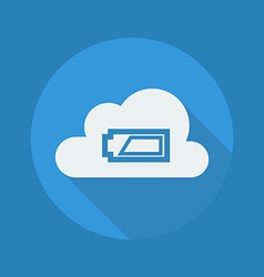 Cloud computing flat icon battery vector
