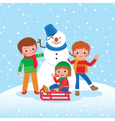Group of children playing in the winter outdoors vector