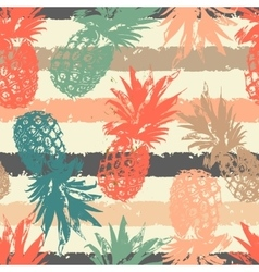 Hand drawn seamless pattern with pineapple in vector