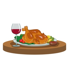 Baked chicken and a glass of wine vector