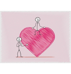 Two people one sitting on the heart and other vector
