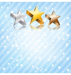 Golden silver and bronze stars vector image