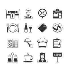 Restaurant black icons vector