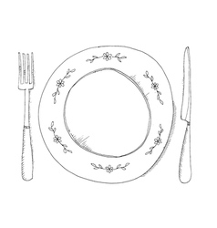 Hand drawn of plate and fraje vector