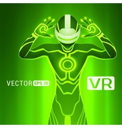 A man in a virtual reality helmet vector
