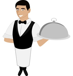 a waiter in a bow tie vector image