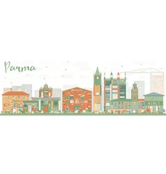 Abstract parma skyline with color buildings vector