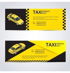 Black and yellow taxi card with taxi car image - vector image