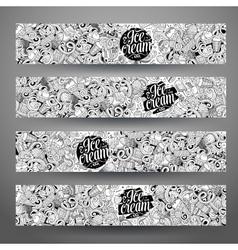Cartoon line art doodles ice cream banners vector