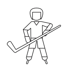 Character hockey player skating ouline vector