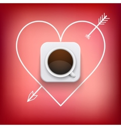 Cup of coffee and heart with arrow background vector