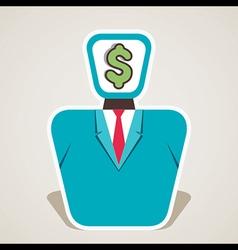 Dollar symbol on businessmen face vector