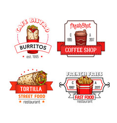 fast food menu icons of fastfood restaurant vector image vector image