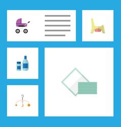 flat infant set of stroller mobile napkin and vector image vector image