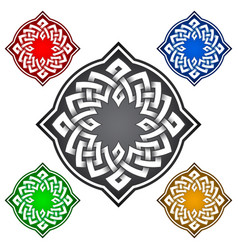 Four-cornered logo template in celtic knots style vector